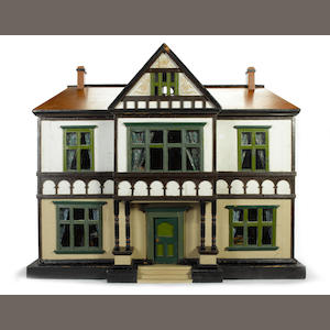Large Tudor style painted wooden dolls house