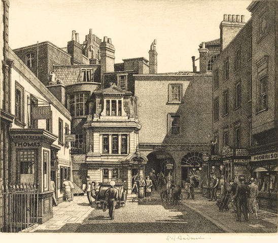 Stanley Roy Badmin RWS (British, 1906-1989) Mill Street W Etching, on J.Whatman laid, with margins,