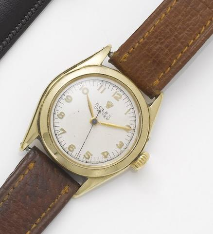 Rolex. A 14ct gold centre seconds wristwatch Oyster, Glasgow Import mark for 1950