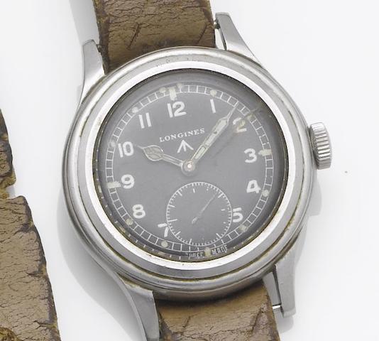 Longines. A stainless steel military wristwatch 1940's, WWW F2681, 23088, 2557