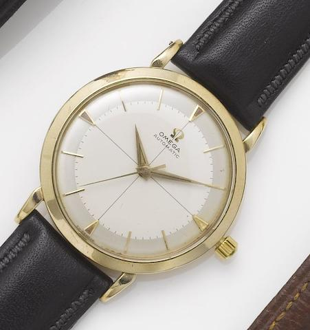 Omega. A 9ct gold automatic centre seconds wristwatch 1950's