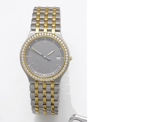 Chopard. A lady's stainless steel, gold, diamond set centre seconds calendar bracelet watch   Monte Carlo, 1990's