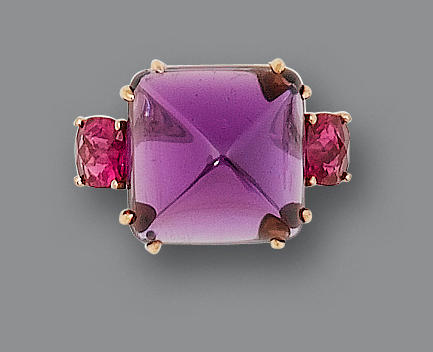 An amethyst and pink tourmaline ring