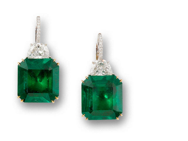 A pair of emerald and diamond earrings