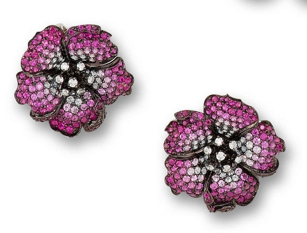 A pair of pink sapphire and diamond earrings