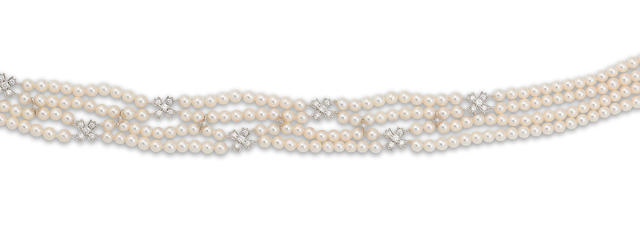 A cultured pearl and diamond choker, by Tiffany & Co.