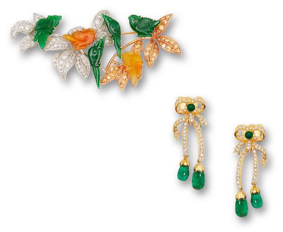 A jadeite, coloured diamond and diamond brooch and a pair of diamond and emerald earrings (2)