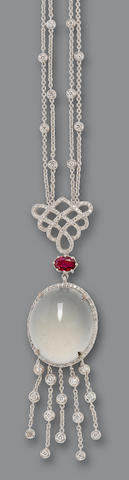 A jadeite, ruby, and diamond necklace