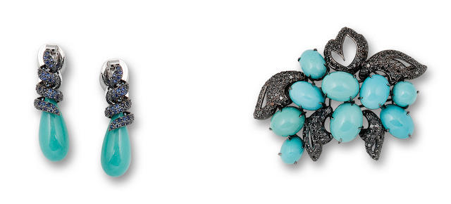 A turquoise and gem-set pair of earrings and brooch  (2)