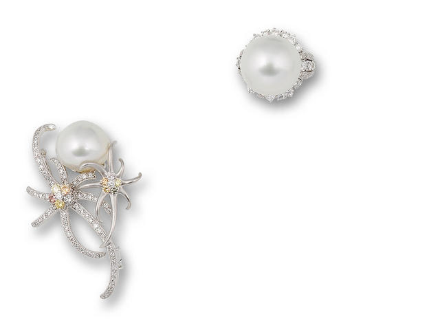 A cultured pearl and diamond ring and brooch  (2)