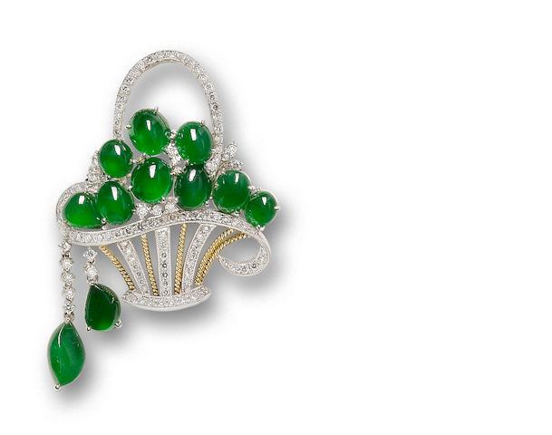 A jadeite and diamond giardinetto brooch