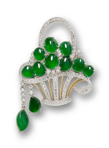 A jadeite and diamond giardinetto brooch