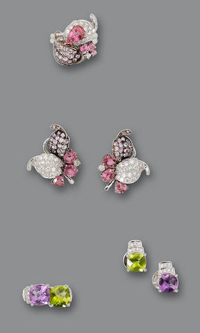 A pink sapphire and diamond ring and earrings suite and an amethyst and peridot earrings and ring, by Adler  (4)