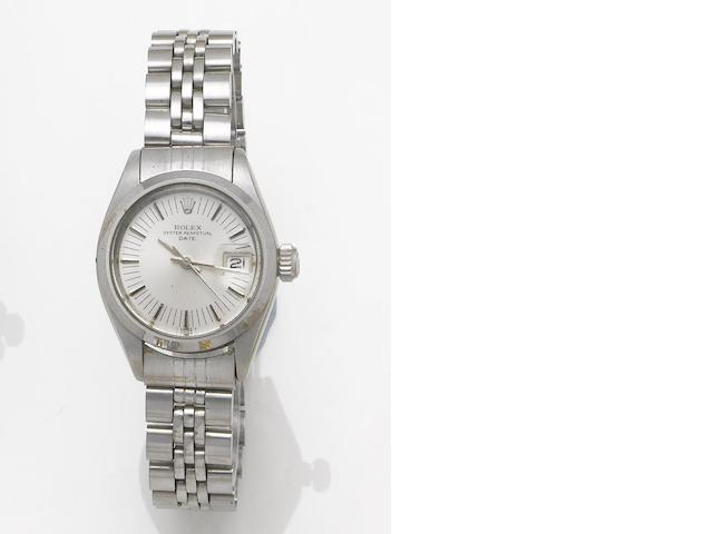 Rolex. A lady's stainless steel automatic centre seconds calendar bracelet watch Oyster Date, 1975