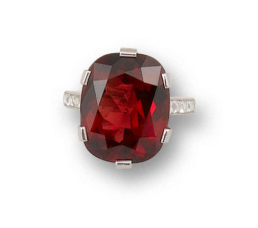 A spinel and diamond ring, by Tiffany & Co.,