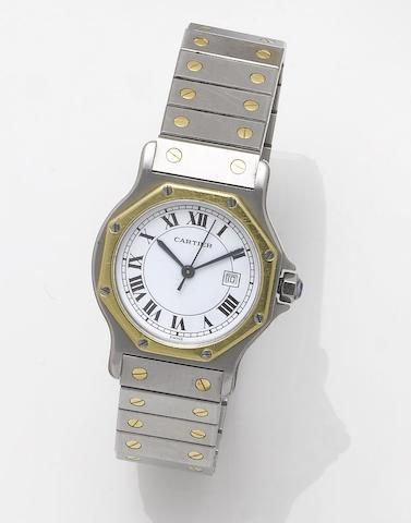 Cartier. A stainless steel and gold automatic centre seconds calendar bracelet watchSantos, 1990's