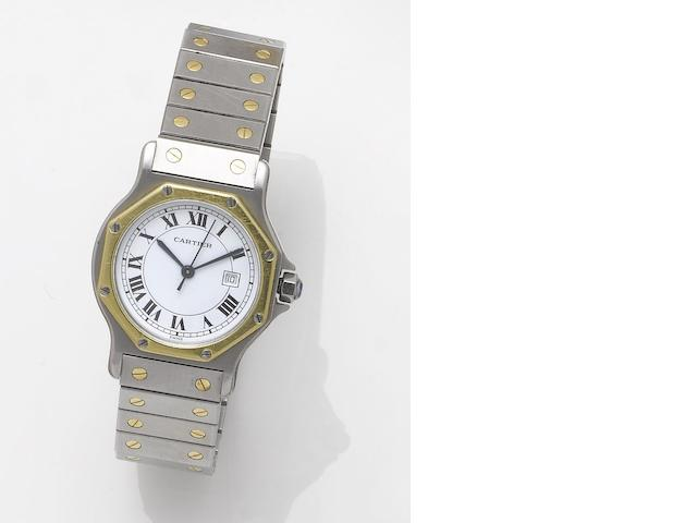 Cartier. A stainless steel and gold automatic centre seconds calendar bracelet watch Santos, 1990's