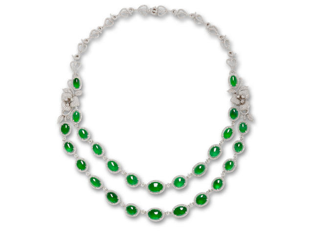 A fine jadeite cabochon and diamond necklace