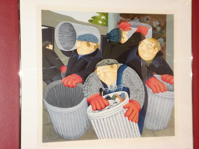 "Beryl Cook (British, 1926-2008) ""Dustbinmen"","