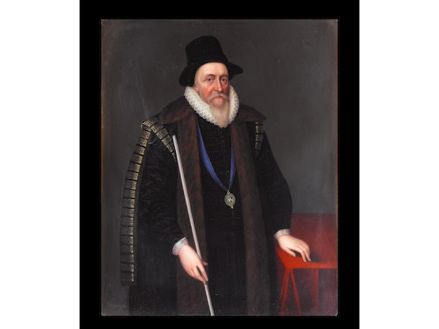 Henry Bone, R.A. (British, 1755-1834) Thomas Sackville, 1st Earl of Dorset (1536-1608), wearing tall