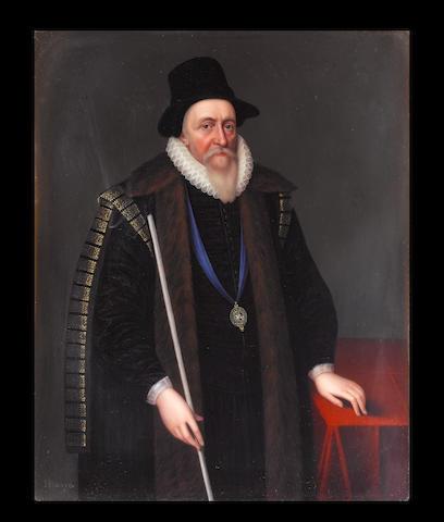 Henry Bone, R.A. (British, 1755-1834) Thomas Sackville, 1st Earl of Dorset (1536-1608), wearing tall