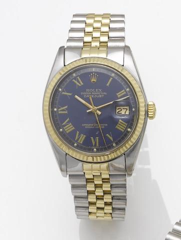 Rolex. A stainless steel and gold automatic centre seconds calendar bracelet watch together with fitted box Datejust, 1977