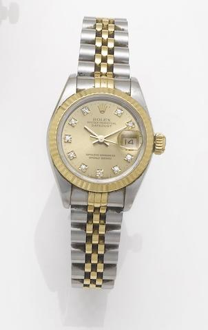 Rolex. A lady's stainless steel and gold diamond set automatic centre seconds calendar bracelet watch Datejust, Made in 1991, Sold August 31st 1993