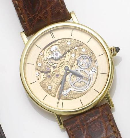 Vacheron & Constantin. An 18ct gold skeleton dial wristwatch1980's