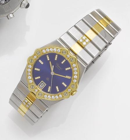 Chopard. A stainless and gold diamond set centre seconds calendar bracelet watch St Moritz, 1990's