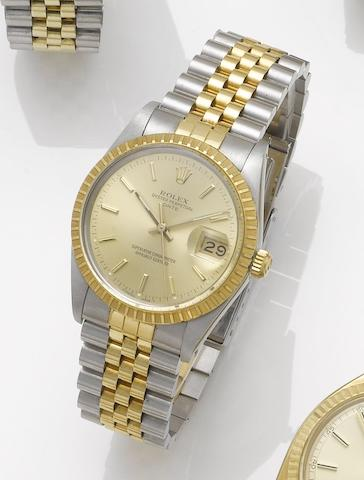 Rolex. A stainless steel and gold automatic centre seconds calendar bracelet watch Date, 2000