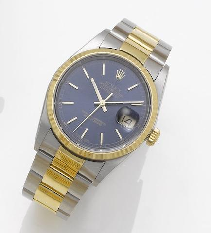 Rolex. A stainless steel and gold automatic centre seconds calendar bracelet watch together with fitted box and papers Datejust, Sold March 10th 2004