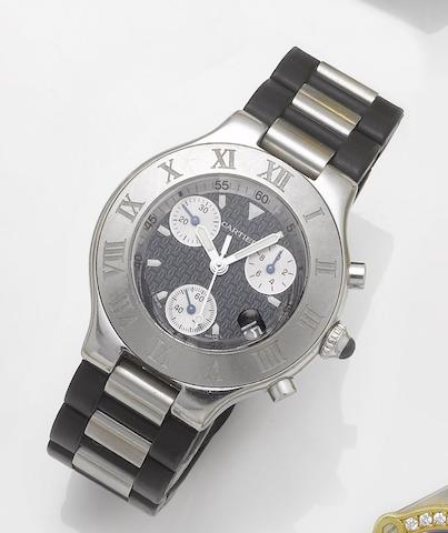 Cartier. A stainless steel and rubber centre seconds calendar chronograph wristwatch Chronoscaph 21, 1990's