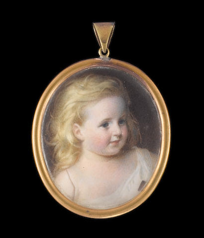 Edward Tayler, R.S.M. (British, 1828-1906) A Young Girl with flowing blonde hair, wearing white robe