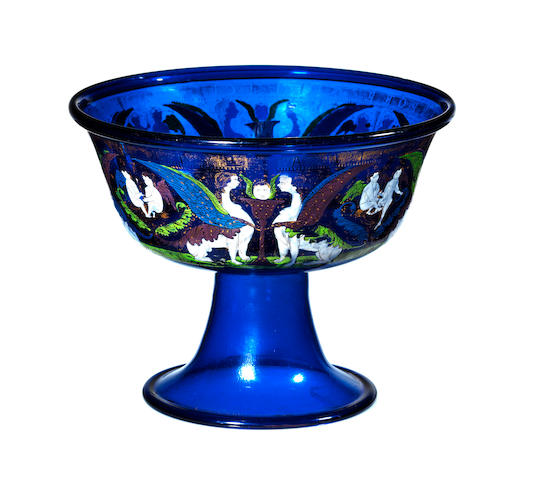 The Field Cup. A highly important Venetian enamelled and gilt blue-tinted standing bowl Late 15th century.