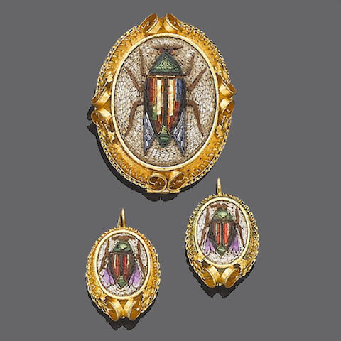 A late 19th century micro-mosaic brooch and earring suite (2)