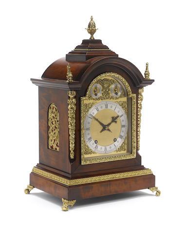 A late 19th century continental ormolu mounted fruitwood quarter striking bracket clock Winterhalder & Hoffmeier