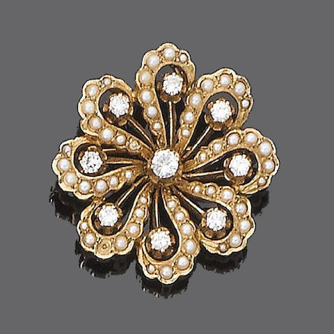 A diamond and cultured half-pearl brooch/pendant