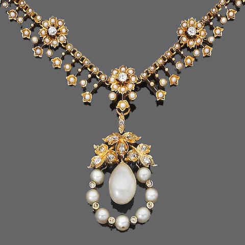 A pearl, cultured pearl and diamond pendant necklace,