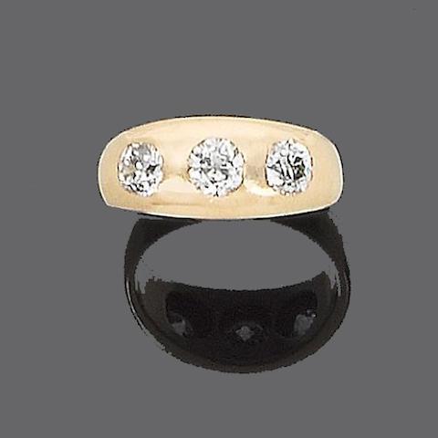 A diamond three-stone ring,