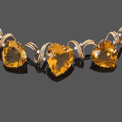 A citrine and diamond necklace, bracelet, earring and ring suite, and similar brooch/pendant and ring (6) (partially illustrated)