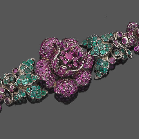 A ruby and emerald bracelet, necklace, brooch/pendant, earring and ring suite (5) (partially illustrated)