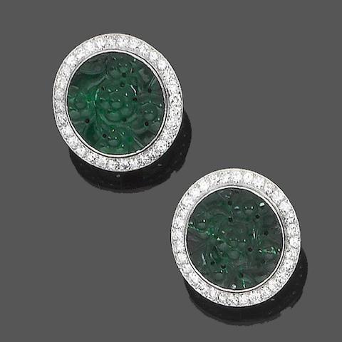 A pair of jade and diamond earrings