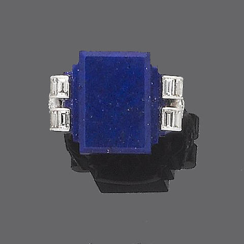 An art deco lapis lazuli and diamond dress ring,