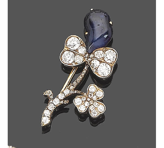 A 19th century sapphire and diamond brooch,