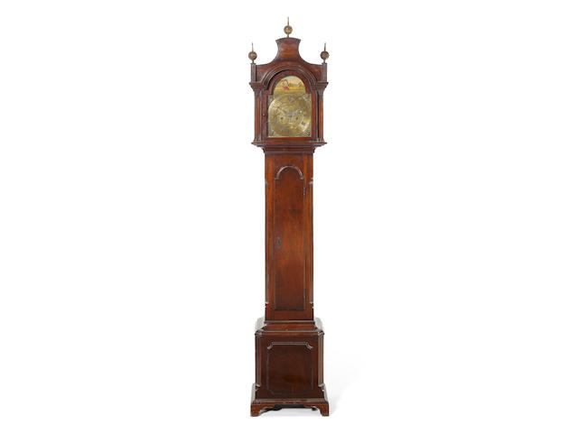 An early 20th century miniature mahogany longcase clock with automata Unsigned