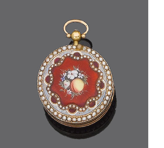 An enamel and half-pearl fob watch,