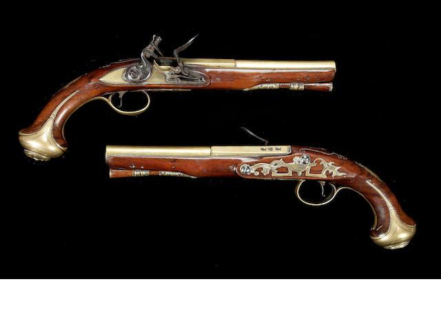 Pair flintlock pistols