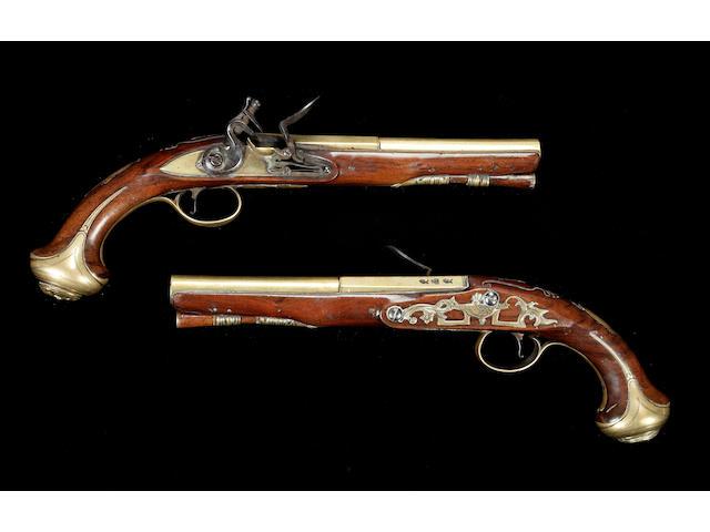 A Good Pair Of Brass-Barrelled Flintlock Pistols