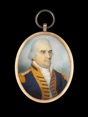 English School, circa 1800 Admiral Charles Buckner (d.1811), wearing Admiral's full-dress uniform, blue coat with gold lace and epaulettes with three silver stars, white waistcoat, frilled chemise and stock