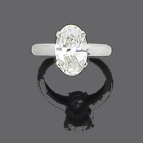 A laser drilled diamond single-stone ring